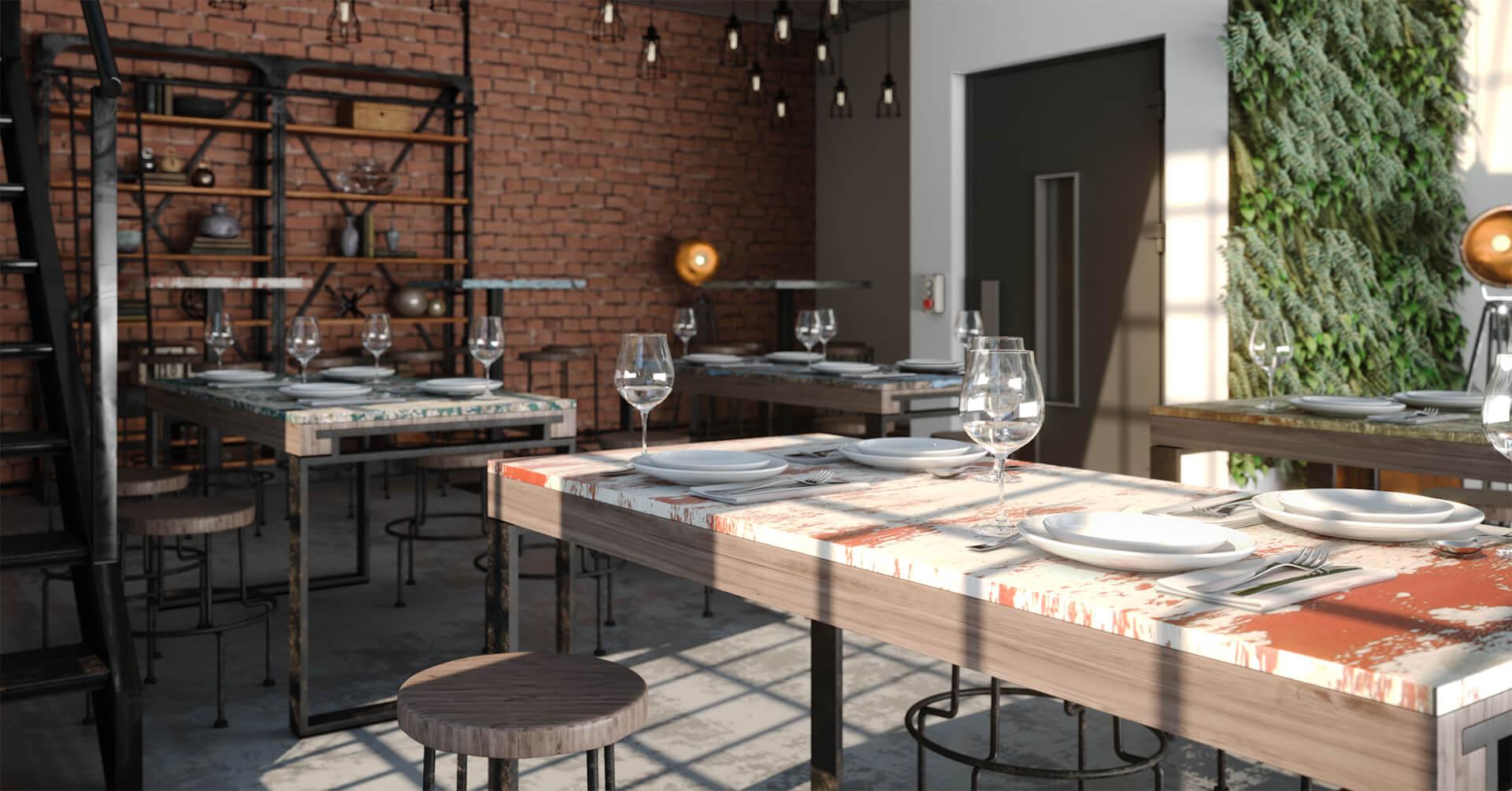 Restaurante Ambiente Industrial