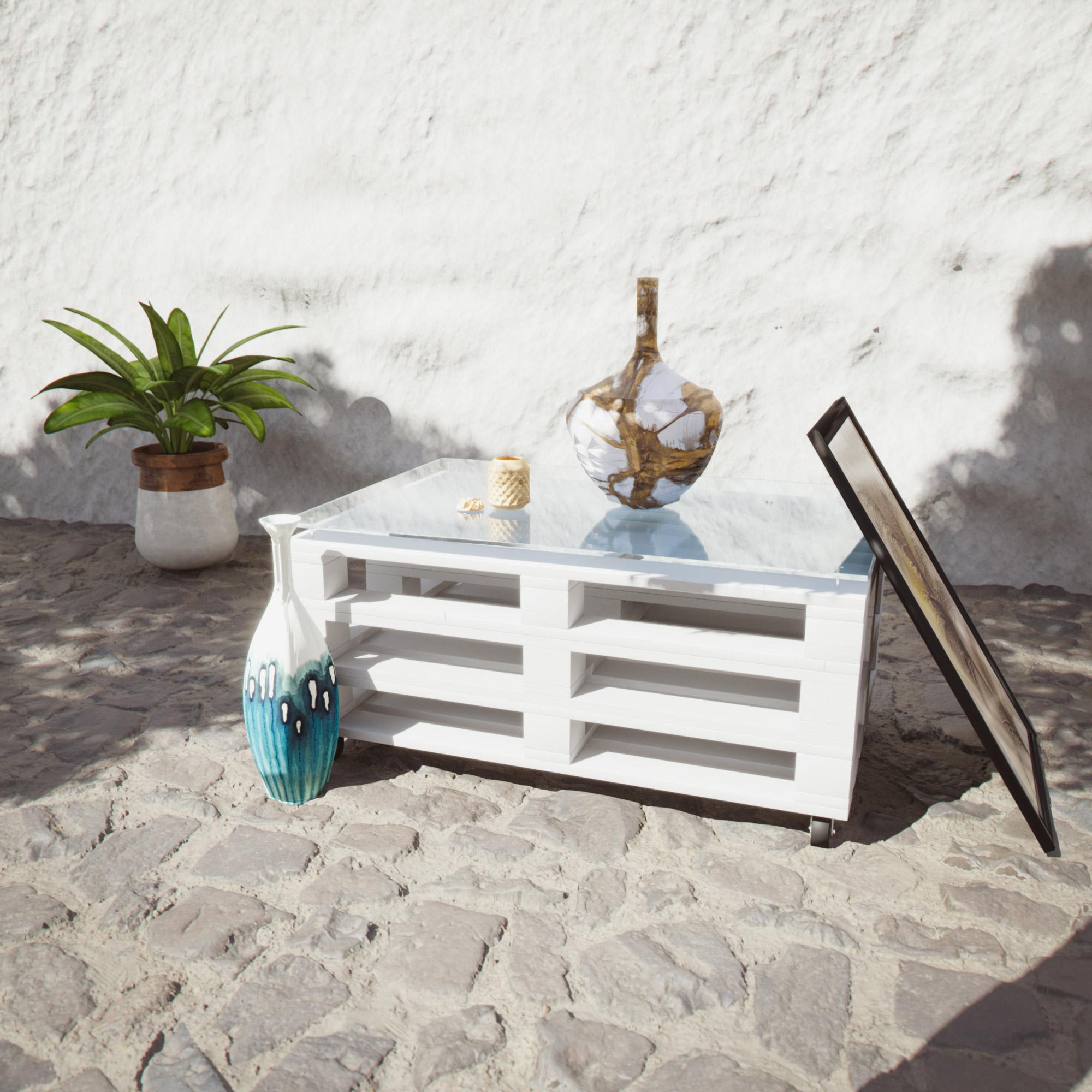 Palet mueble pintado a la tiza